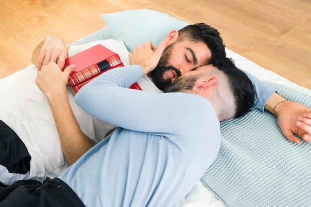 Młoda Homoseksualna Para Kłama Na łóżkowym Całowaniu Darmowe Zdjęcia