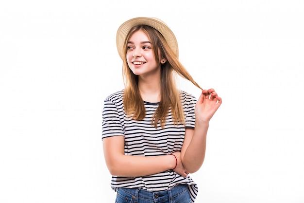 Młoda ładna Kobieta Z Słomą Odizolowywającą Na Biel ścianie Darmowe Zdjęcia