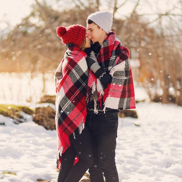 Młoda Para Całuje Się Na śnieżnym Polu Sobie Koc Reklama Darmowe Zdjęcia