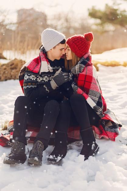 Młoda Para Sobie Koc Na śnieżnym Polu Darmowe Zdjęcia