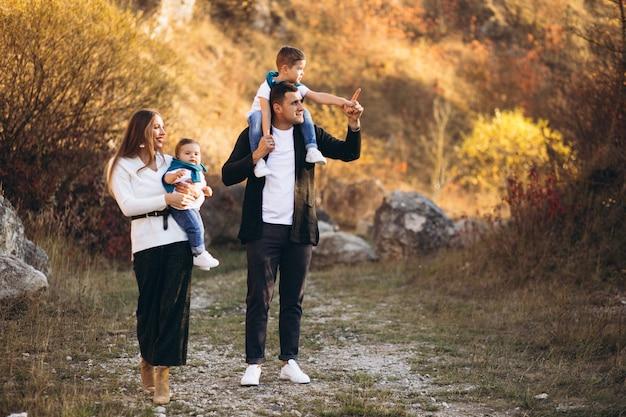 Młoda Rodzina Z Dwoma Synami Razem Poza Parkiem Darmowe Zdjęcia