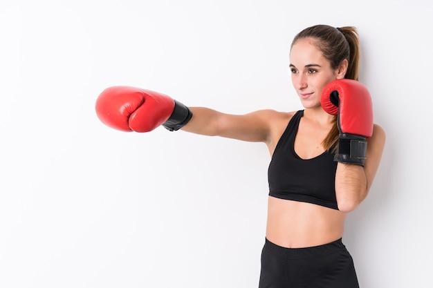 Młody Kaukaski Kobieta Sportowy Boks Premium Zdjęcia