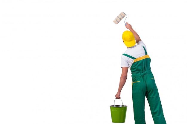 Młody Malarz Repairman Z Rolownikiem Odizolowywającym Na Bielu Premium Zdjęcia