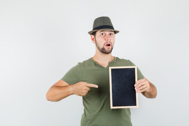 Młody Mężczyzna W Zielonej Koszulce I Kapeluszu, Wskazując Na Tablicę I Patrząc Zdziwiony Darmowe Zdjęcia