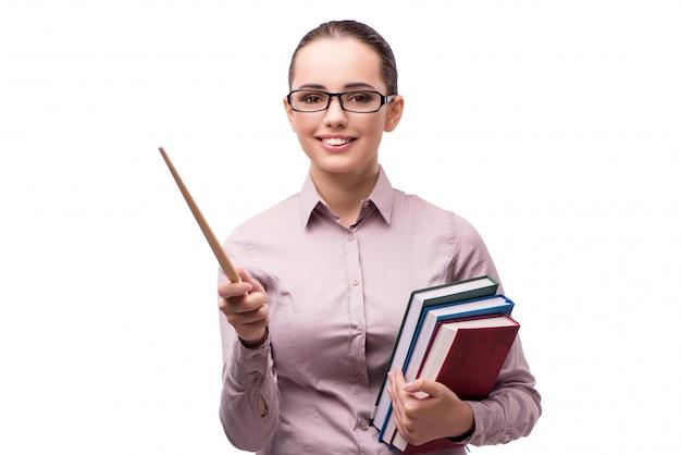 Młody Uczeń Z Książkami Odizolowywać Na Bielu Premium Zdjęcia