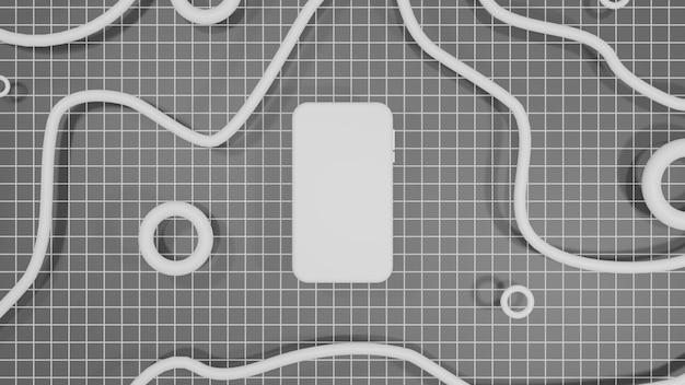 Mobilny Makieta Renderowania 3d Czarne Tło Premium Zdjęcia