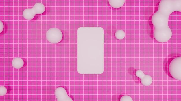 Mobilny Makieta Renderowania 3d Różowe Tło Premium Zdjęcia