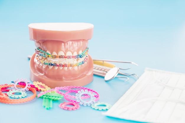 Model ortodontyczny i narzędzie dentystyczne - demonstracyjny model zębów z zamkami ortodontycznymi lub zamkiem Premium Zdjęcia