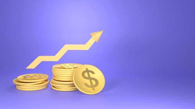 Moneta I Baner Z Ilustracją Wykresu Ze Spacją Na Tle, Premium Zdjęcia
