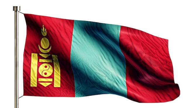 Mongolia Flaga Narodowa Pojedyncze 3d Białe Tło Darmowe Zdjęcia