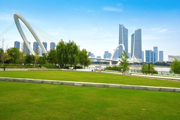 Most Dla Pieszych Eye Of Nanjing I Miejska Panorama W Nanjing W Chinach Premium Zdjęcia