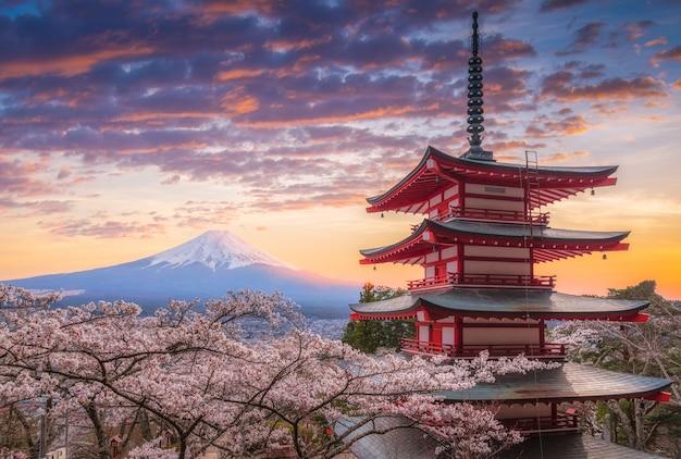 Mount fujisan piękne krajobrazy na zachód słońca. Premium Zdjęcia