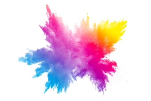 Multi kolor proszku wybuchu na białym tle. Premium Zdjęcia