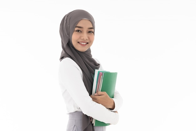 Muzułmański Dziewczyna Ucznia Portret Premium Zdjęcia