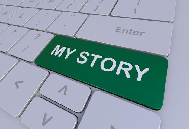 My Story, Wiadomość Na Klawiaturze, Renderowanie 3d Premium Zdjęcia