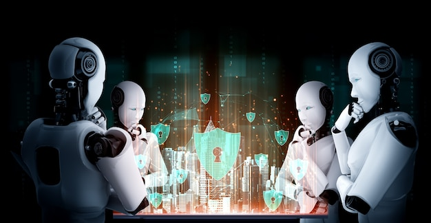 Myślący Humanoidalny Robot Ai Analizujący Ekran Hologramu Przedstawia Koncepcję Sieci Premium Zdjęcia