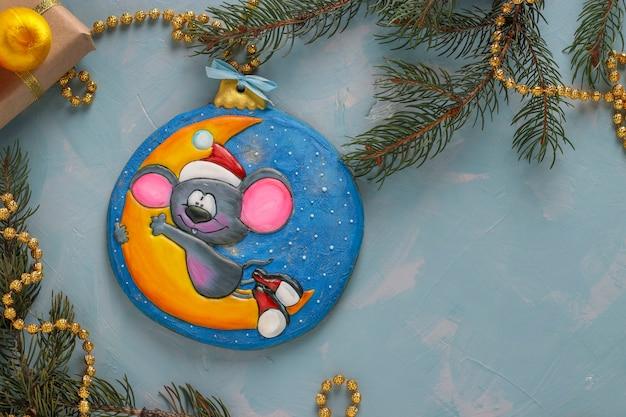 Mysz Z Piernika, Symbol Nowy Rok 2020, Prezenty świąteczne Lub święto Noel Premium Zdjęcia