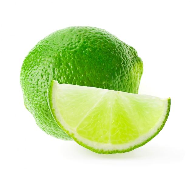 Na Białym Tle Owoców Cytrusowych Wapno Premium Zdjęcia