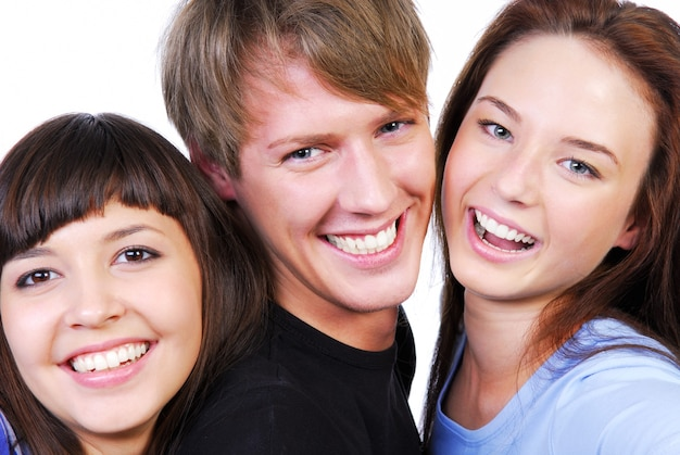 Na Białym Tle Portret Trzech Pięknych Nastolatków, śmiejąc Się Darmowe Zdjęcia
