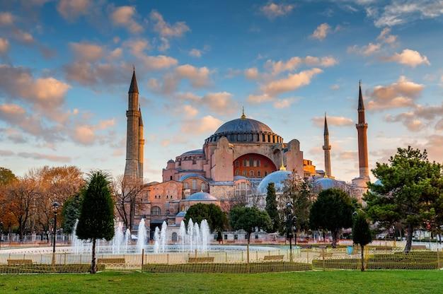 Na Zewnątrz Wielki Meczet Hagia Sophia Premium Zdjęcia