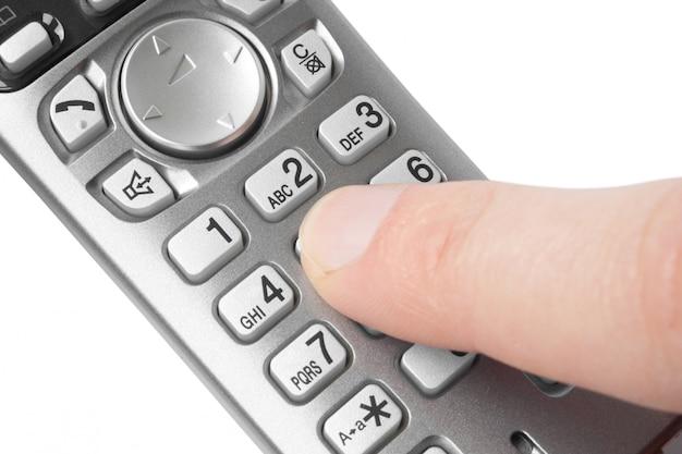 Naciska Palcem Przyciski Telefonu Premium Zdjęcia