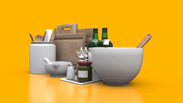 Naczynia kuchenne, olej i warzywa w puszkach w słoiku na żółtym tle. renderowania 3d. Premium Zdjęcia