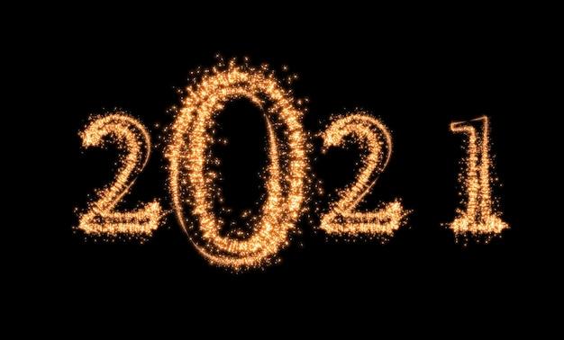 Napisane Z Fajerwerkami Sparkle Na Ciemnym Tle Szczęśliwego Nowego Roku I Baner Uroczystości Wesołych świąt Premium Zdjęcia