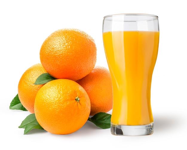 Napój Na Białym Tle Szklanka Soku Pomarańczowego Premium Zdjęcia