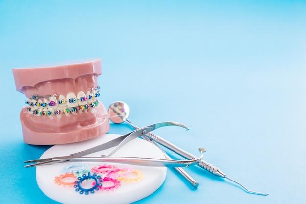 Narzędzia dentysty i model ortodontyczny na niebieskim tle. Premium Zdjęcia