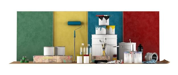 Narzędzia Do Wyboru Próbki Koloru Do Malowania ścian Na Białym Tle. Renderowanie 3d Premium Zdjęcia