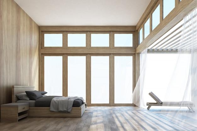 Naturalna stylowa sypialnia i taras z nieba 3d renderingiem Premium Zdjęcia