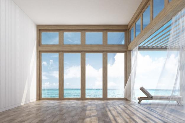 Naturalna stylowa wnętrze przestrzeń, taras z dennym widoku 3d renderingiem i Premium Zdjęcia