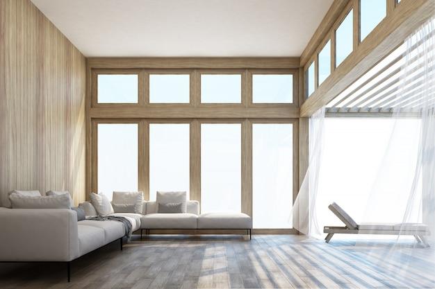 Naturalny styl powierzchnia mieszkalna i taras z nieba renderingiem 3d Premium Zdjęcia