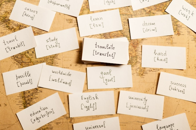 Nauka angielskich słów. tłumaczyć Premium Zdjęcia