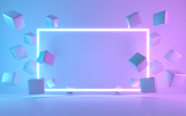 Neon Rama Znak Z Kostki. Renderowania 3d Premium Zdjęcia
