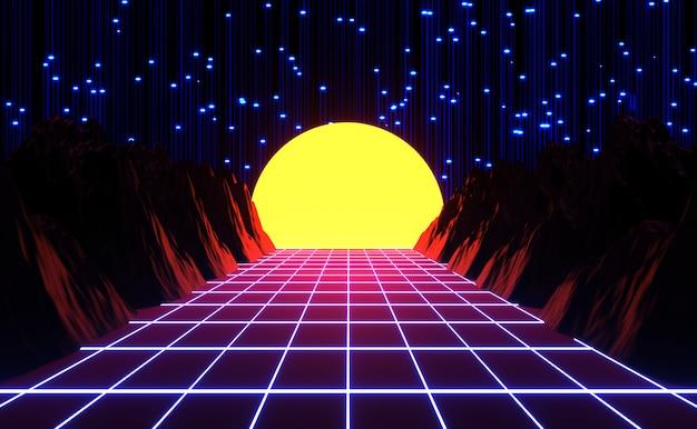 Neonowy styl lat 80., retro gra i muzyka krajobraz, światła i góry renderowania 3d. Premium Zdjęcia