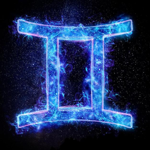 Neonowy Znak Zodiaku Bliźnięta Dla Horoskopu Astrologicznego Premium Zdjęcia