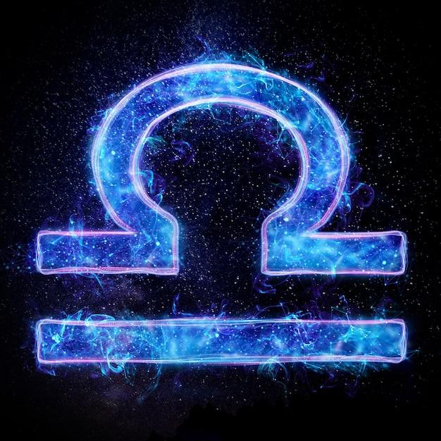 Neonowy Znak Zodiaku Libra Horoskop Astrologiczny Premium Zdjęcia