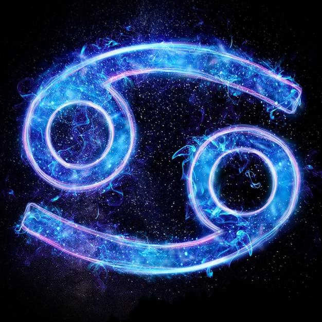 Neonowy Znak Zodiaku Rak Dla Horoskopu Astrologicznego Premium Zdjęcia