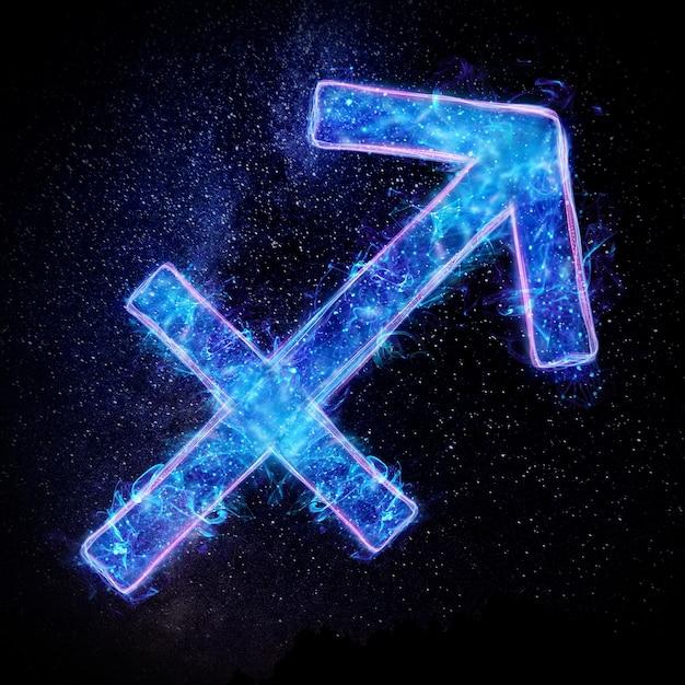 Neonowy Znak Zodiaku Strzelec Do Horoskopu Astrologicznego Premium Zdjęcia
