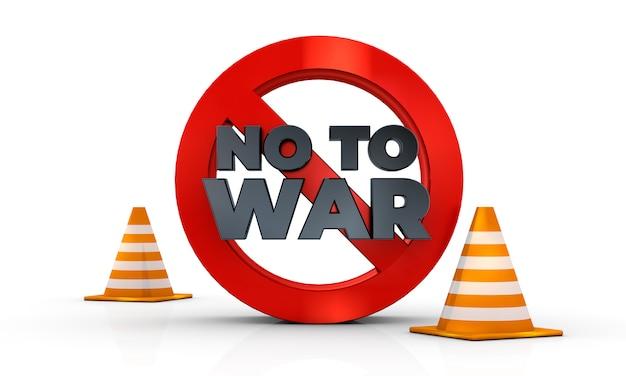 Nie Do Wojny Znak Na Białym Tle W Renderowania 3d Ilustracji 3d Premium Zdjęcia
