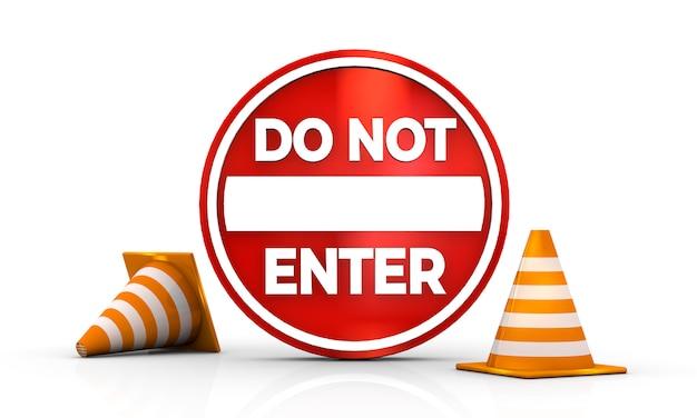 Nie Wchodź Zaloguj Się Samodzielnie Na Białym Tle Renderowania Ilustracji 3d Premium Zdjęcia