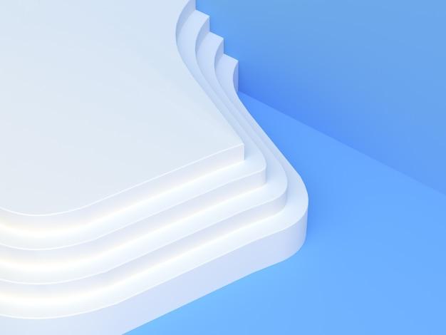 Niebieska Biała Scena Renderowania 3d Puste Podium Streszczenie Nowoczesne Tło Premium Zdjęcia