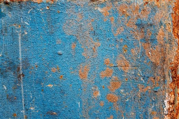 Niebieska Zardzewiała Blacha. Miejsce Na Tekst. Przestrzenie I Tekstury. Premium Zdjęcia