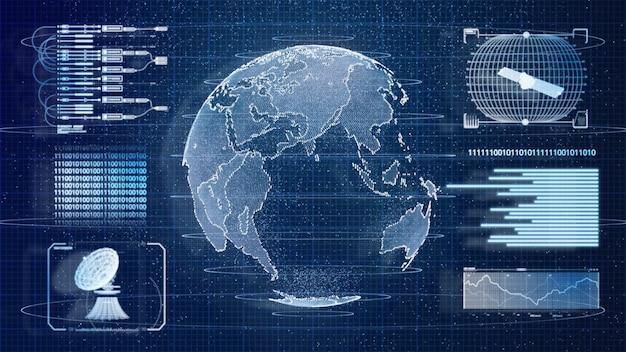 Niebieski Cyfrowy Hud Ziemia świat Informacji Skanowania Hologram Interfejsu Użytkownika Tło. Koncepcja Technologii Wojskowej I Kosmicznej Premium Zdjęcia