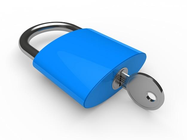 Niebieski kłódki z kluczem Darmowe Zdjęcia