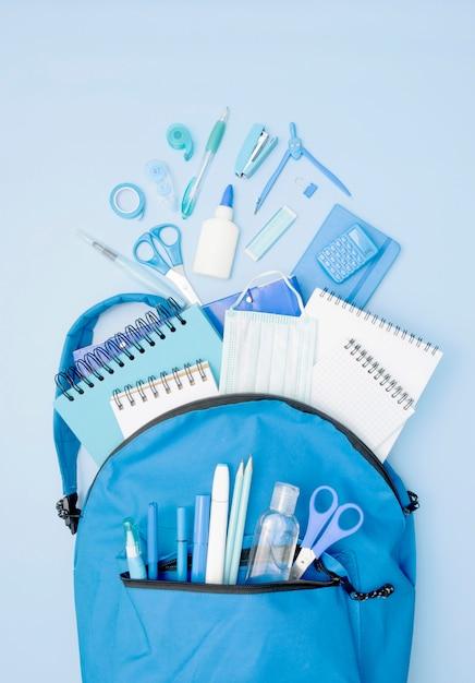 Niebieski Plecak Z Przyborów Szkolnych Darmowe Zdjęcia
