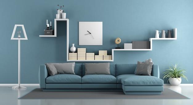 Niebieski Salon Z Sofą I Półką. Renderowanie 3d Premium Zdjęcia