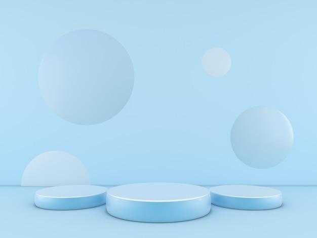 Niebieskie Podium Minimalne Na Niebieskim Tle Koloru Dla Produktu. Renderowania 3d Premium Zdjęcia