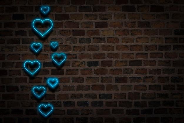 Niebieskie Serca, Neonowy Znak Na Tle ściany Ognia. Koncepcja Walentynki, Miłość. Premium Zdjęcia